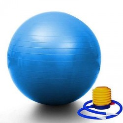 "PrimeTrendz TM Blue Yoga Ball 29"" 75cm Exercise Pilates Balance Gymnastic Fitness W/air Pump"