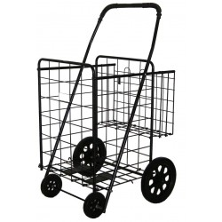 "Jumbo Folding Shopping Cart - Double Basket with Black Liner -(Black) Cart Size: 41.75""h x 24""w x 21""d"