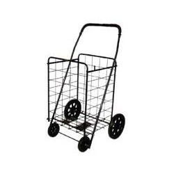 "FOLDING SHOPPING CART BLACK Cart (Size: 41.75""h x 24""w x 21""d)"