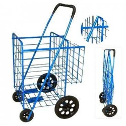 Folding Shopping Cart with Double Basket - Strong Tires