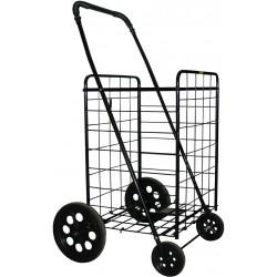 PrimeTrendz Jumbo Folding Shopping Cart | Jumbo Size | 150 LB Capacity | Color: Black