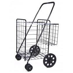 "Jumbo Folding Shopping Cart - Double Basket with Black Liner -(Black) Cart Size: 41.75""h x 24""w x 21""d"