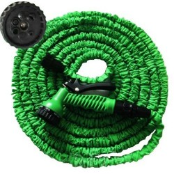 PrimeTrendz TM 100ft/30m Stretching Garden Hose + 7 Function Spray Nozzles, Shut Off Valve, Compact and Lightweight in Green