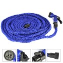 PrimeTrendz TM 100ft/30m Stretching Garden Hose + 7 Function Spray Nozzles, Shut Off Valve, Compact and Lightweight in Blue